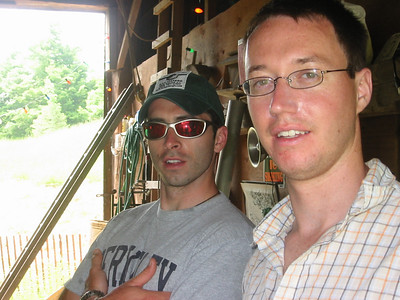 Mike and Dennis - my bestment hanging in the barn.  I wish I had a picture right after this to prove that Dennis didn't pull his hands out of hit pits, smell them, and then explain that sometimes when he's nervous ...