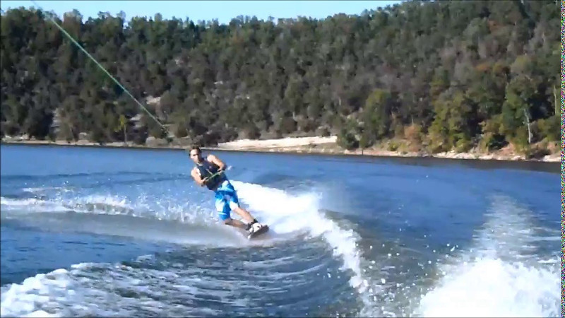 Kelley atempts to perfect a Wakeboarding Trick.
