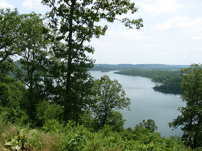 05/27/03  Up on a bluff looking at the James River at Table Rock Lake.  The bluff is just up from dad on Y.