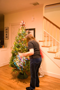 Decorating the Tree - I like the light streaks!