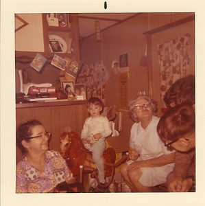 Little Trailer - Christmas Day 1970 - Momee Joe, Mom, Chad (Willie and Theo)