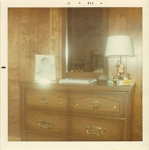 """Big Trailer - Chad's Bed Room - Text on back reads """"The Shiny thing on the dresser is the statue you bought him."""""""