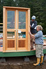 Positioning the french doors.