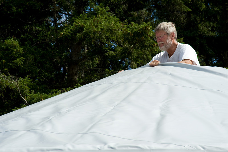 We were very lucky that Langdon showed up to help -- he  had recently been through the process with his own yurt.