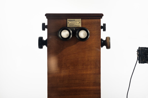 An old stereoscope in the Lumiere brothers exhibition at the Confluence museum, Lyon