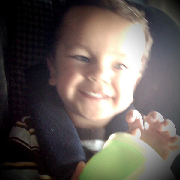 Jason was in a pretty good mood on the flight