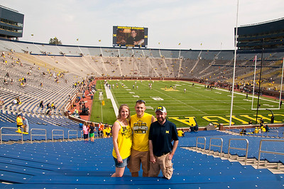Brit, myself and Ryan enjoying our seats at the BIG HOUSE! GO BLUE!