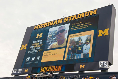 I got my photo up on the big screen before the game.