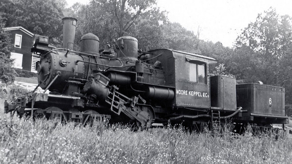Moore and Keppel #6 under steam at Ellamore, WV on June 1, 1952