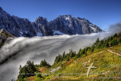 Cloud Cascade - Cascade Pass - Northern Cascades, Washington.  We started out the morning in drizzle and clouds.  The pass was windy and chilly.  However, an hour later everything changed - we broke out into sunshine as we got above the clouds.  This was an awesome cloud waterfall over the pass.