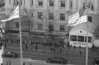 Inauguration of President Barack Obama, Jan. 20, 2009; Washington, D.C. President Elect is escorted down Pennsylvania Ave. to be sworn in.