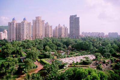 Hiranandani Complex as seen across Nirvana Park as viewed from the Nanda Netcom office at Gateway Plaza, Hiranandani Gardens, Powai, Mumbai