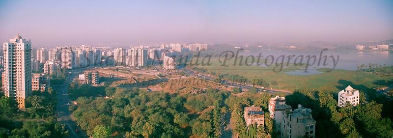 Panoramic view of Powai Lake from Hiranandani gardens, Powai, Mumbai, India