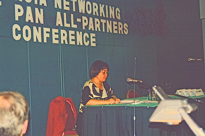 Ms Maria Ng Lee-Hoon of IDRC addressing the conference. Attended IDRC's PAN Asia Networking First All Partners Conference meeting which was held in Gengish Khan Hotel, UB (Ulaan Baator), Mongolia in 1997.
