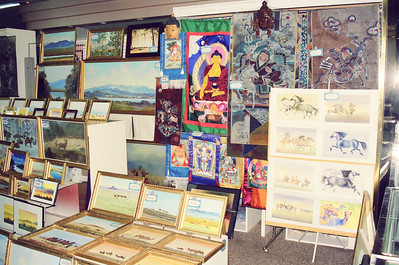 "Various Mongolian painting and works on sale at the ""State Department Store"" in UB, Ulan Bator, Mongolia. Visited a couple of places when I went to attend the IDRC's PAN Asia Networking First All Partners Conference."
