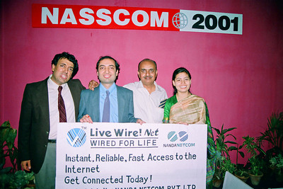 Anish, Manu, Kirit & Divya. Live Wire BBS & Net participation in NASSCOM 2001