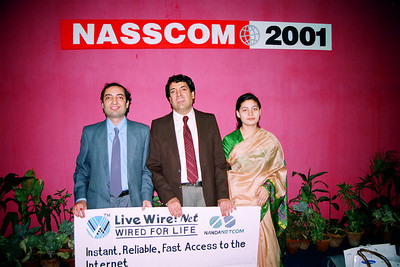Anish, Manu & Divya. Live Wire BBS & Net participation in NASSCOM 2001