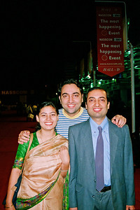 Suchit with Divya and Anish. Live Wire BBS & Net participation in NASSCOM 2001