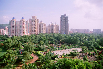 View of Hiranandani Garden from Suchit Nanda's cabin in Live Wire! office 707, Gateway Plaza, Hiranandani Gardens, Powai Lake, Mumbai