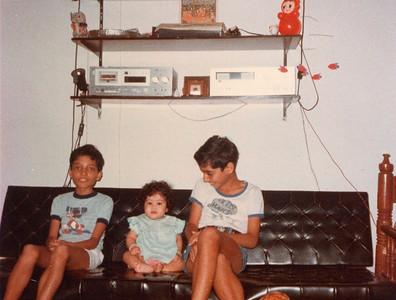 Anish, Priya and Suchit at the Seth family home in Romy Apartments, Marol, Mumbai