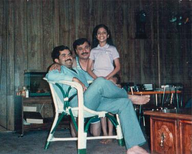 Karan Seth, Satish Bahl, Anu Bahl (Bose) at home in Hamilton Sq, NJ, USA
