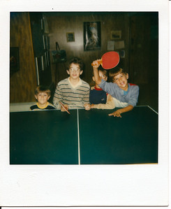 Mike, Tom and our cousins Bryan and Grant - Pong!