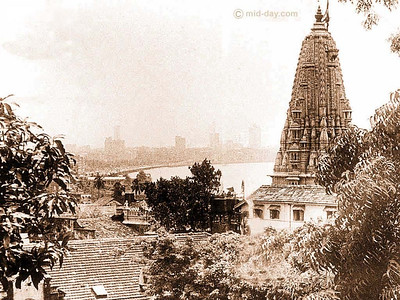 Babulnath Temple featured here in a picture taken in early 20th century with the Marine Drive in the background.  Another temple - Mumbadevi Temple is how the city got its name. The exquisite Mumbadevi (Goddess Mumba) Temple is a few kilometres away.