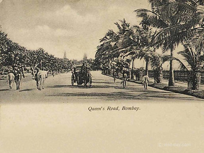 Queen's Road, Bombay. One of Mumbai's prominent promenades in the 19th Century, Queen's Road was also its most picturesque. Its broad tree-lined avenues would have been a sight to experience.