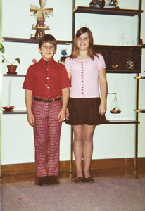 To Grandma: Love Karri 12 1/2 yrs 7th; Keith 11 yrs 5th, Taken Sept 4, 1973 First day of school.