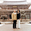 Feb 1979. Taken at a Buddhist Temple in the mountaint of central Korea. I look fat but its just the coat. Ha!  Ha1. Wait. Do not believe him. He is a little fate. Chong Al.