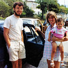 Waiting to cross the border from Italy to Yugoslavia. 5 Aug 1986  Rick, Dawn, & Ariana
