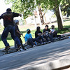 Skateboarders congregate on the steps at the west end of Veterans Park in Klamath Falls, Oregon.