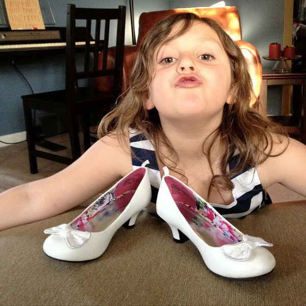 Lizzy was super excited about here high heels for Easter.