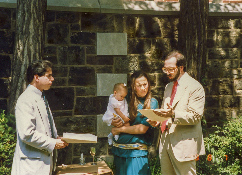 Jessie Schiller's naming - first life cycle event Jamie Gibson did at temple Sinai.  August 8, 1988