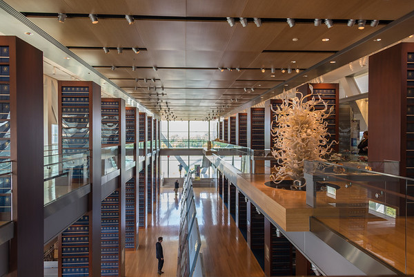 The Library is lined with a small amount of Clinton's papers, many exhibits and Chihuli glass.
