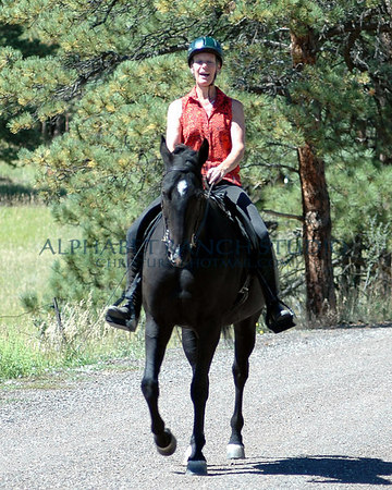 "Christina laughing her head off after finally getting Comet to cooperate!  He was in his balking stage and I got him into a canter to get him ""forward""! September 6, 2004."