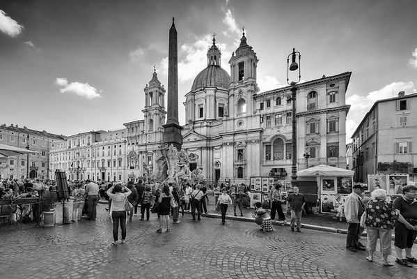 Busy Square in Rome