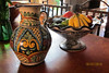 I purchased this Talavera vase, frutero ... Price: $350 MXN<br /> <br /> .... and large plate (next photo) in an antique store in Michoacán about 10 years ago. The pieces are not signed. The frutero base has been broken and glued. Vase and frutero sold together: