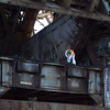 A worker on the rail bridge.