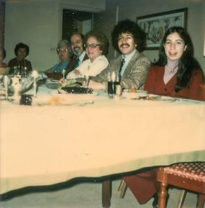Passover 1973 Mom, Grandman S.,  Uncle Nat, Aunt Mildred, Richard, Debra