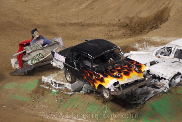 He thought it would be a good idea to go over the monster truck jump... ?