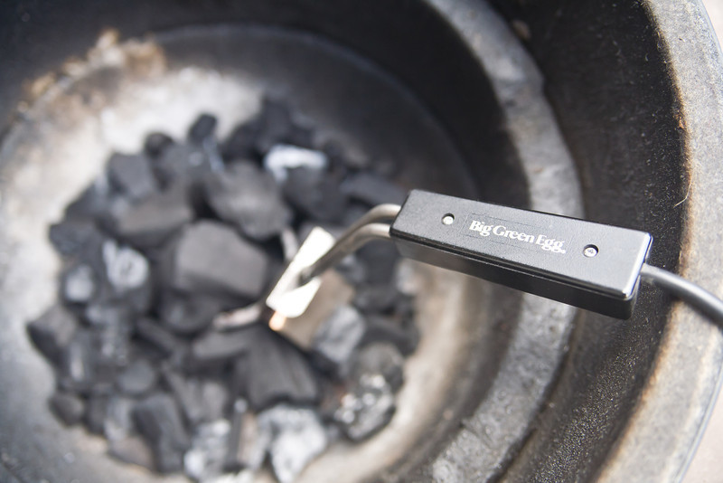 The Big Green Egg electric starter is awesome... it gets the lump charcoal going in under ten minutes.