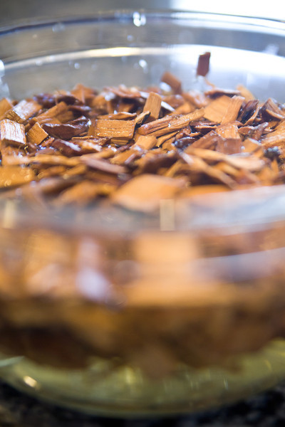 Apple wood chips soaking a couple hours prior to the festivities.