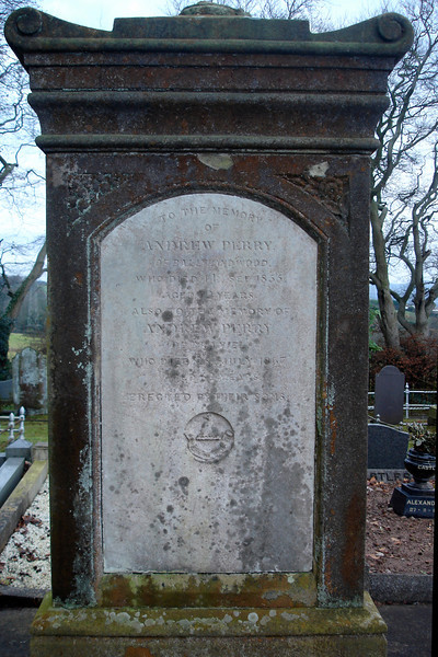Headstone of Andrew Perry of Ballyhanwood 1783 - 1855 (my great-great grandfather) and Andrew Perry of Braniel 1805 - 1867<br /> Castlereagh Presbyterian Church<br /> <br /> Also buried in ths grave is my great grandfather James Perry 1840-1915. It is also likely that James' mother Sarah Perry (nee Gordon) is buried here too.<br /> <br /> <br /> Atop the headstone would have been an urn draped with a shroud but time and the elements have taken their toll and sadly the urn has fallen and is lost.