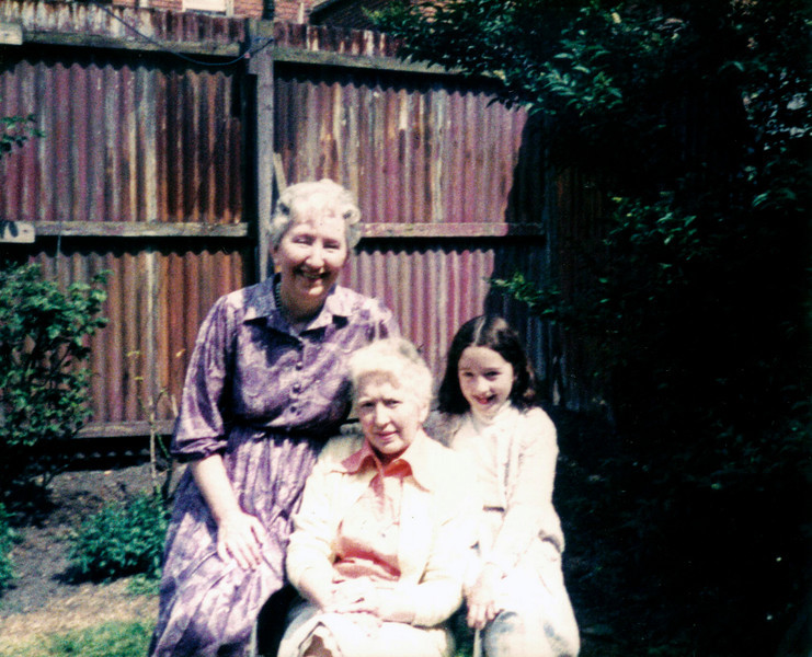 Aunt Martha, aunt Sheila and Mary Gibson <br /> Back garden of Ponsonby Avenue around 1983