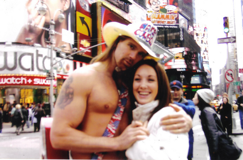 """Grainne Maskey and """"The Naked Cowboy""""<br /> Times Square New York"""