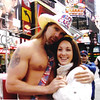 "Grainne Maskey and ""The Naked Cowboy""<br /> Times Square New York"