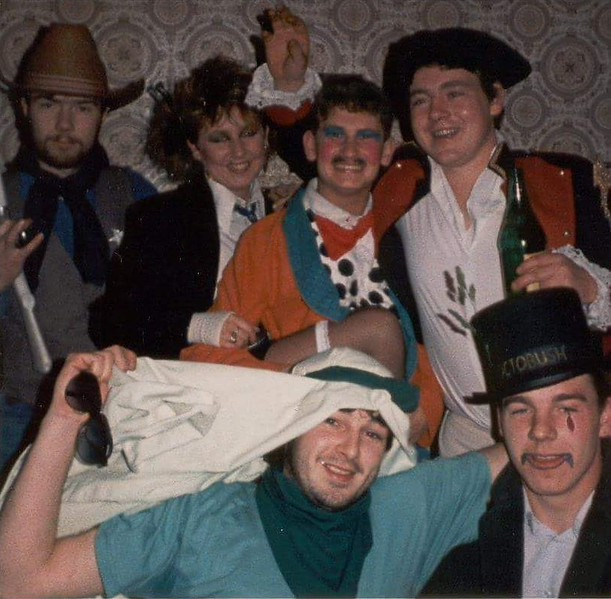 Stephen Perry, Jackie, Terry Myers, Gabe Gormley, Paddy Burns, Seamy Reid.<br /> Early 1980's