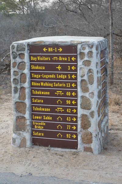 Road sign in Kruger Park.
