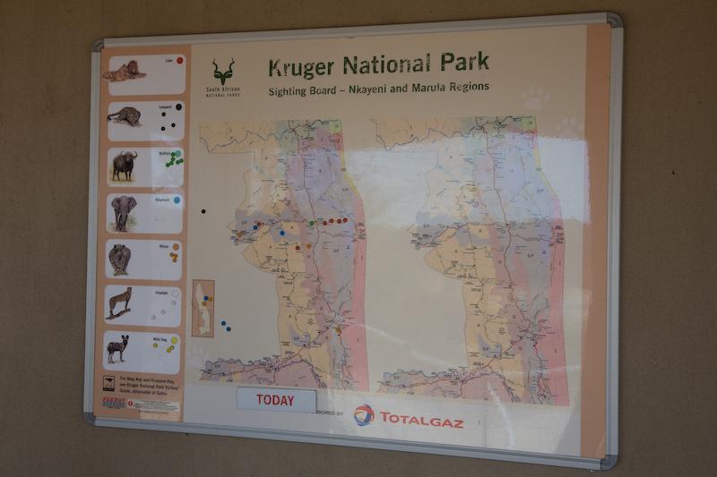 Kruger Park sighting map
